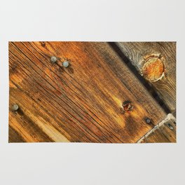 Wood Grain Pattern on Weathered Wooden Boards Rug