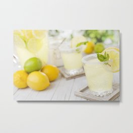 Refreshing lemonade on a rustic outdoor table in bright light Metal Print