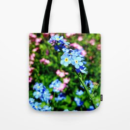 Pink And Blue Forget Me Nots Tote Bag