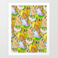 sloths Art Prints featuring Sloths by Vincy Cheung