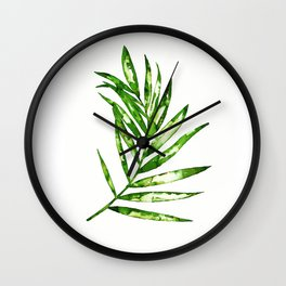 Green ink painting - fern Wall Clock