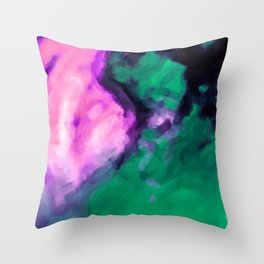 pink and green painting texture abstract background Throw Pillow