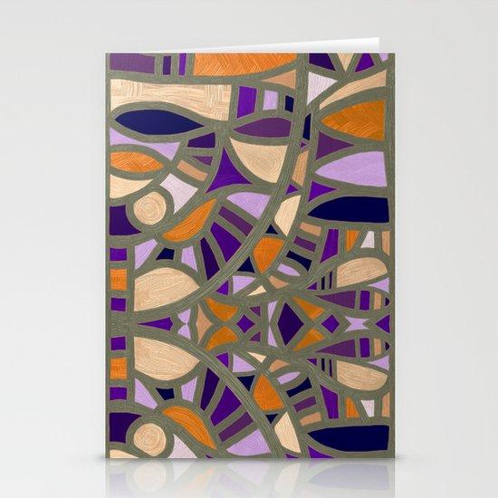 Gaudy Gaudi orange & purple Stationery Cards