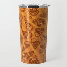 Seashell collection on sand background. Travel Mug