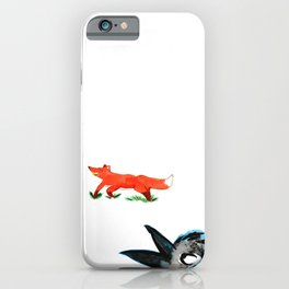 Happy Fox and an angry Crow iPhone Case