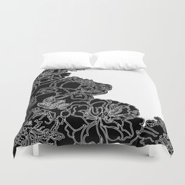 FLORAL IN BLACK AND WHITE Duvet Cover