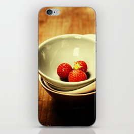 Strawberries in a Bowl on wooden background iPhone Skin