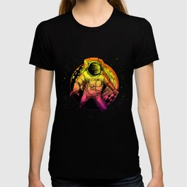 Floating Astronaut With Moon graphic Universe Cience Lovers T-shirt
