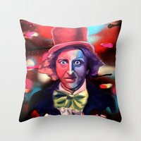 willy wonka Throw Pillows featuring Wonka by Phillip Aceves