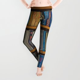 Bookshelf Books Library Bookworm Reading Pattern Leggings