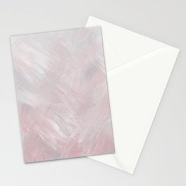 Feathered, Pink and Blue Brushstroke Minimalist Artwork Stationery Cards