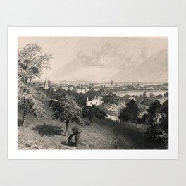 Providence, Rhode Island Skyline in 1889 Art Print