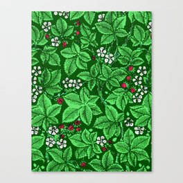 Art Nouveau Strawberries and Leaves, Emerald Green Canvas Print