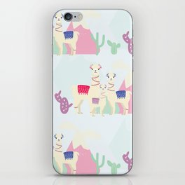 Llama Family Repeating Pattern - Cute Alpaca Family Illustration iPhone Skin
