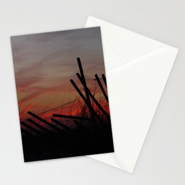 Fallen Down Fence Sunset Stationery Cards