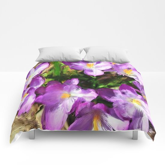 Spring In the Air - Painterly Crocuses Comforters
