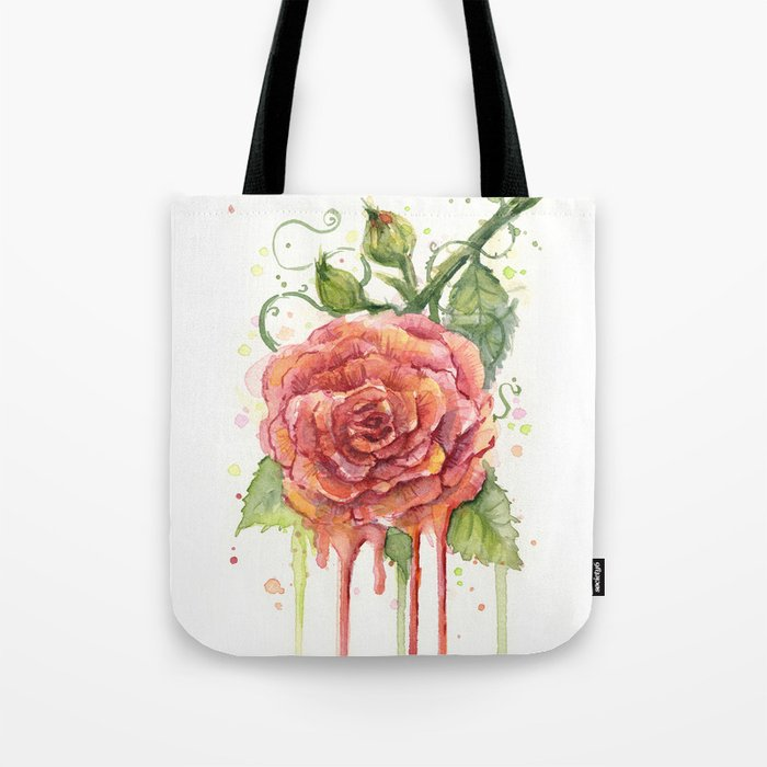 Red Rose Dripping Watercolor Flower Tote Bag