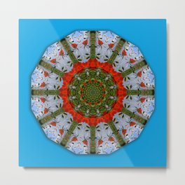 Red Poppies, Floral mandala-style Metal Print