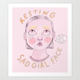 Resting Sad Girl Face Art Print