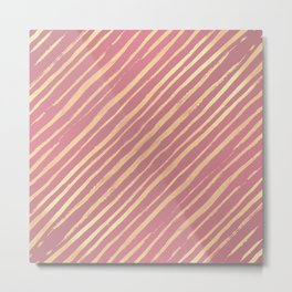 Pink Passion Gold Stripes Metal Print