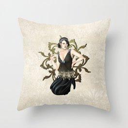 1920s Jazz Siren Throw Pillow