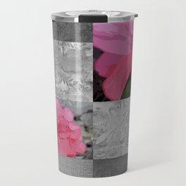 Gray Burlap and Damask with Pink Azaleas - Modern Farmhouse Travel Mug