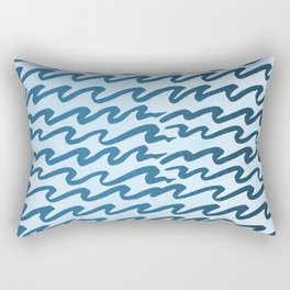 Abstract Metallic Sea Waves Saltwater Taffy Teal on Blue Raspberry Rectangular Pillow