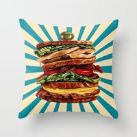 catcher in the rye Throw Pillows featuring Turkey Club on Rye by Kelly Gilleran