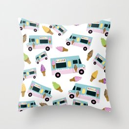 Retro Ice cream Truck Pattern Throw Pillow
