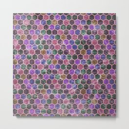 Colorful Hexagon Seamless Pattern #02 Metal Print