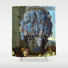 Luca Forte Still Life with Grapes and other Fruit Shower Curtain