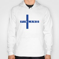 finland Hoodies featuring finland country flag name text by tony tudor