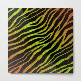 Ripped SpaceTime Stripes - Orange/Lime Metal Print