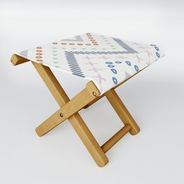 Mixed Zig Zag - Cobalt Folding Stool