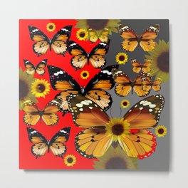 RED & GREY BROWN BUTTERFLIES ART Metal Print