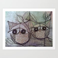 Owl couple Art Print