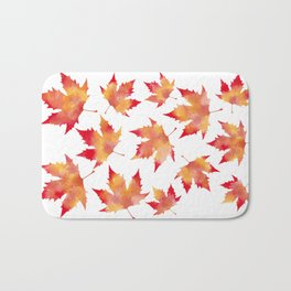 Maple leaves white Bath Mat