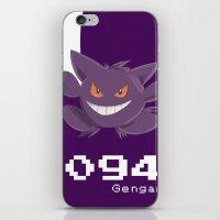 gengar iPhone & iPod Skins featuring Pkmn #094: Gengar by Michelle Rakar