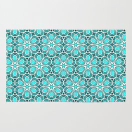 Symmetrical Flower Pattern in Turquoise Rug
