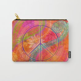 Hippie Chic Paisley Flowers Peace Carry-All Pouch