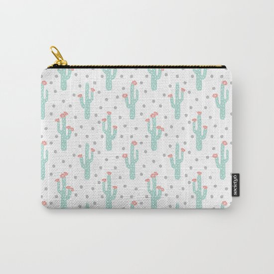 White Cactus Flowers triangle geometric kids fun southwest tribal socal hipster pattern desert print Carry-All Pouch