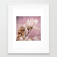 poem Framed Art Prints featuring magnolia poem by Iris Lehnhardt