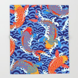 Koi fish / japanese tattoo style pattern Throw Blanket