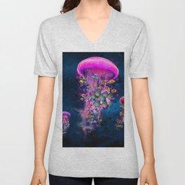 Floating Electric Jellyfish Worlds Unisex V-Neck