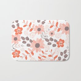 Big Orange, Coral and Pink Country Flowers Bath Mat