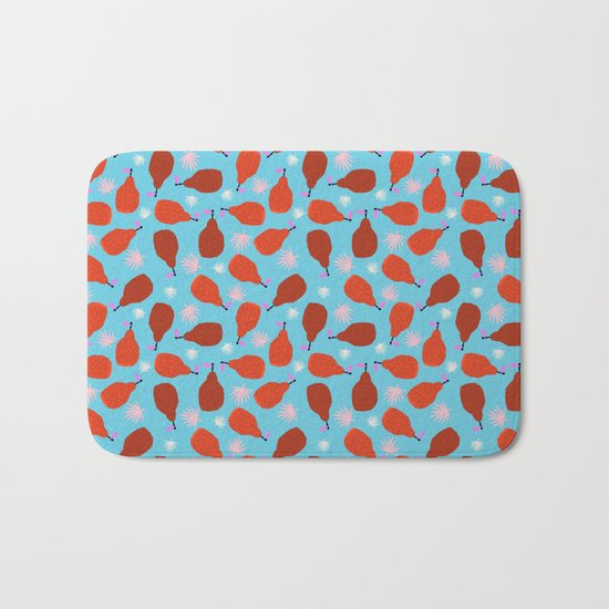 Legit - pears pattern print retro pattern throwback nature minimal modern abstract bright neon 80s Bath Mat