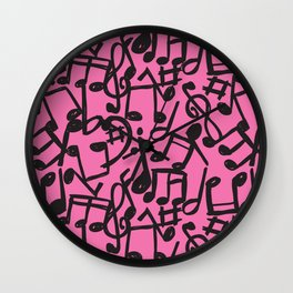 music is pink Wall Clock