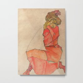 Egon Schiele - Kneeling Female in Orange-Red Dress Metal Print