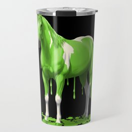 Neon Green Wet Paint Horse Travel Mug