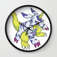 digimon Wall Clocks featuring Gabumon by Jelecy